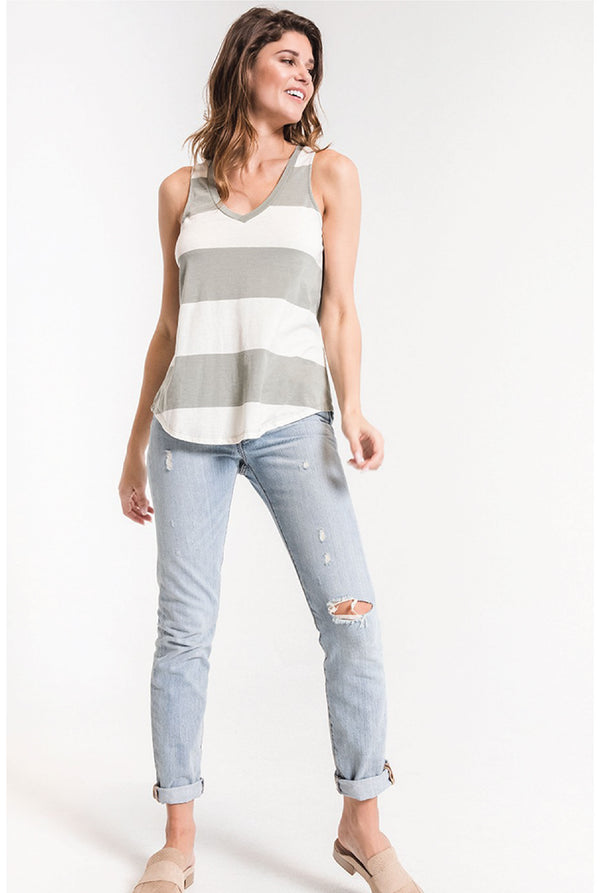 Z Supply - Venice Striped Tank - Pale Sage - Tucker Brown