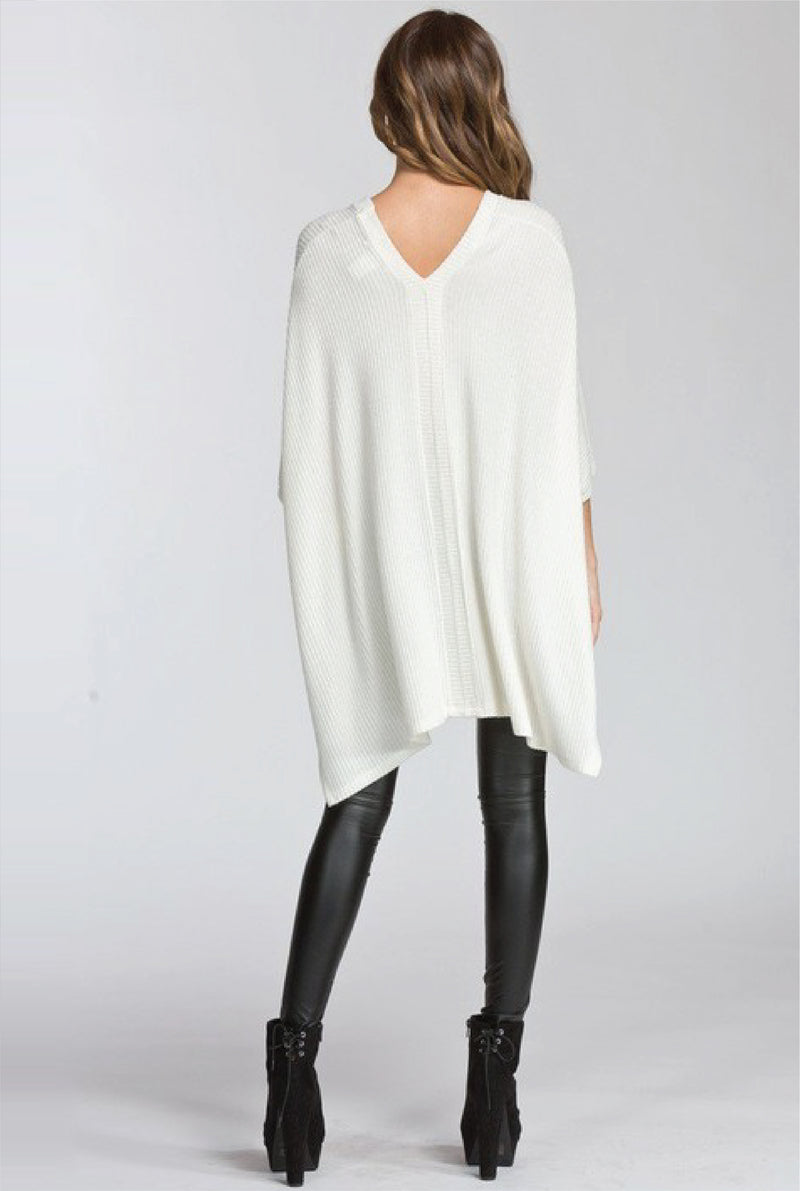 Double V Poncho Sweater -- Ivory - Tucker Brown