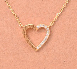 Dainty Half Heart Necklace - Tucker Brown