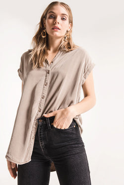 Nico Button Up Top - Tucker Brown