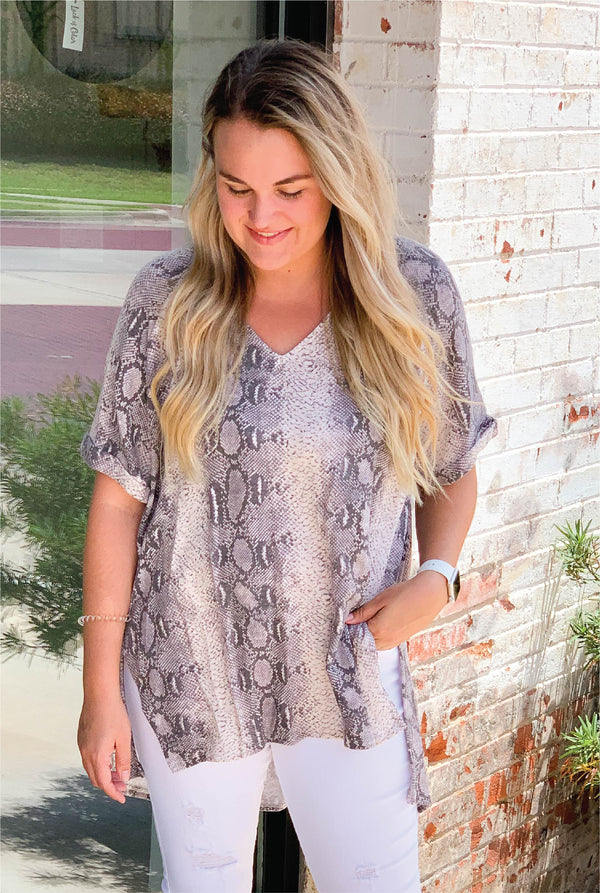 Slither On Snake Tunic - Grey - Tucker Brown