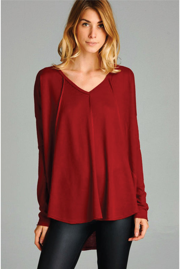 Brushed Reverse Seam Top - Burgundy - Tucker Brown