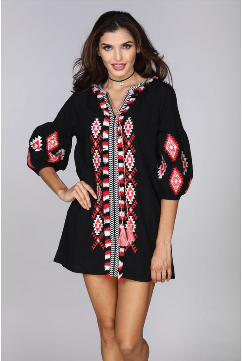 Ariana Embroidered Dress - Black - Tucker Brown