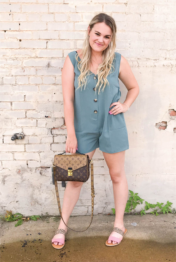 Lally Tie Romper - Tucker Brown