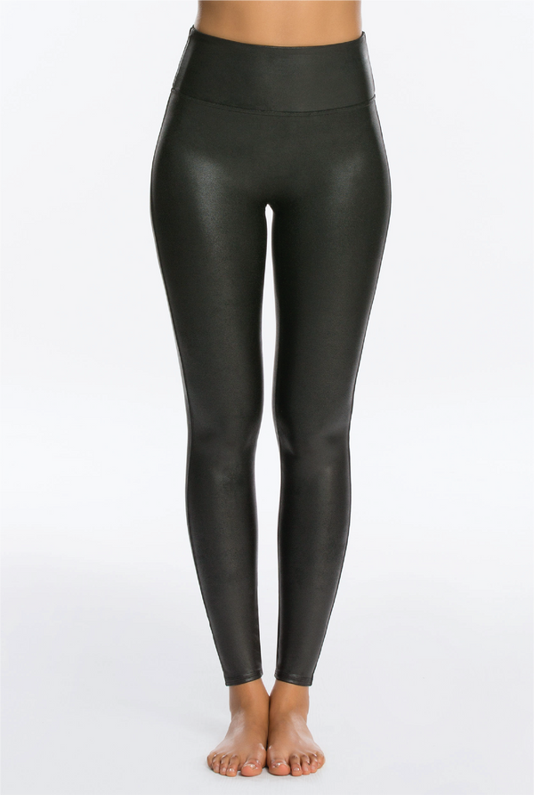 Faux Leather Leggings - Black - Tucker Brown