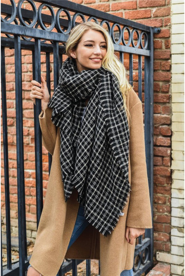 Tattersall Plaid Blanket Scarf - Black - Tucker Brown