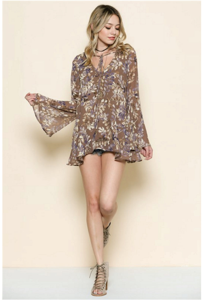 Lorena Floral Tunic - Mocha - Tucker Brown
