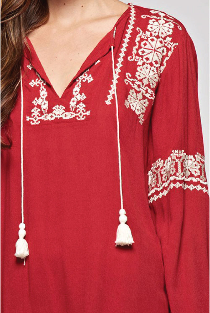 Evita Peasant Top - Red - Tucker Brown