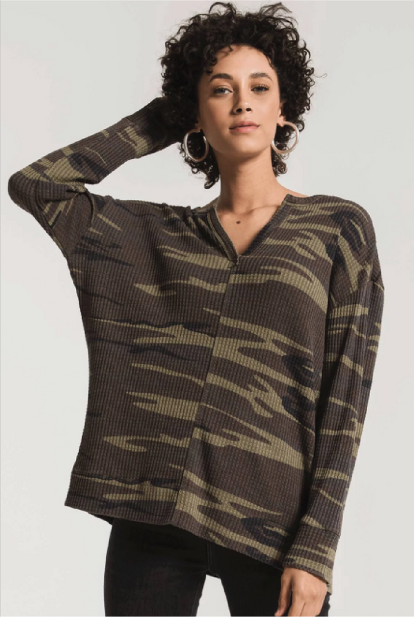 Camo Thermal Split Neck Top