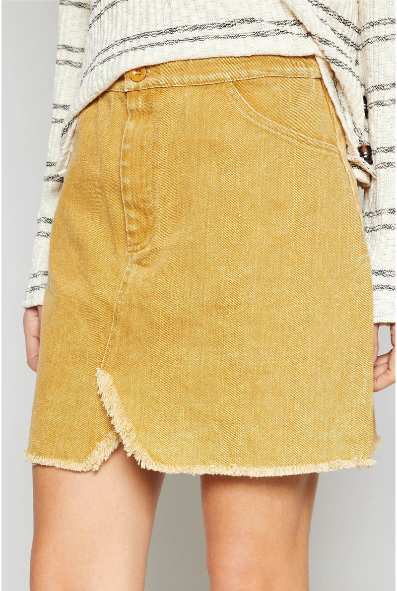 Lea Washed Twill Mini Skirt - Marigold