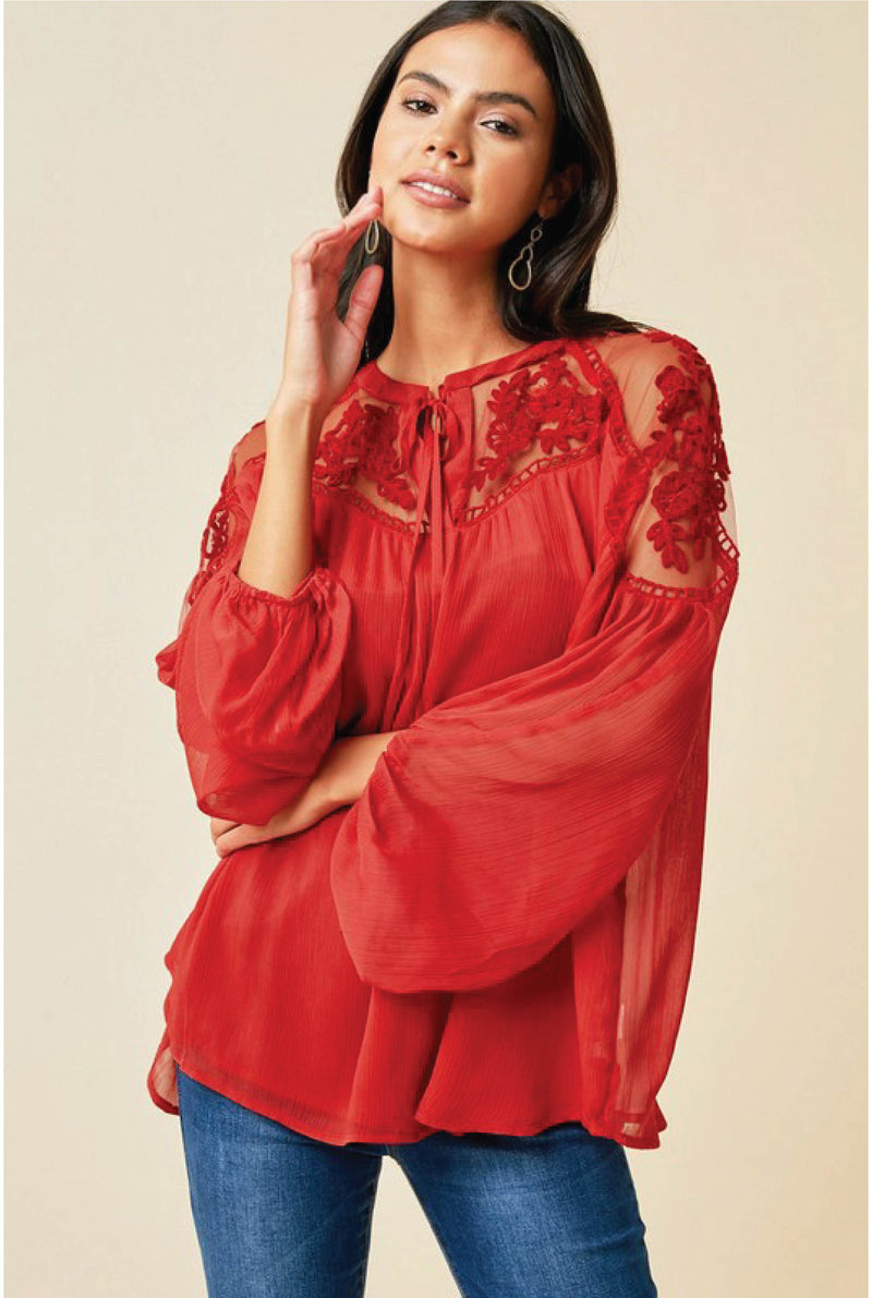 Trulaske Lace Blouse - Red - Tucker Brown