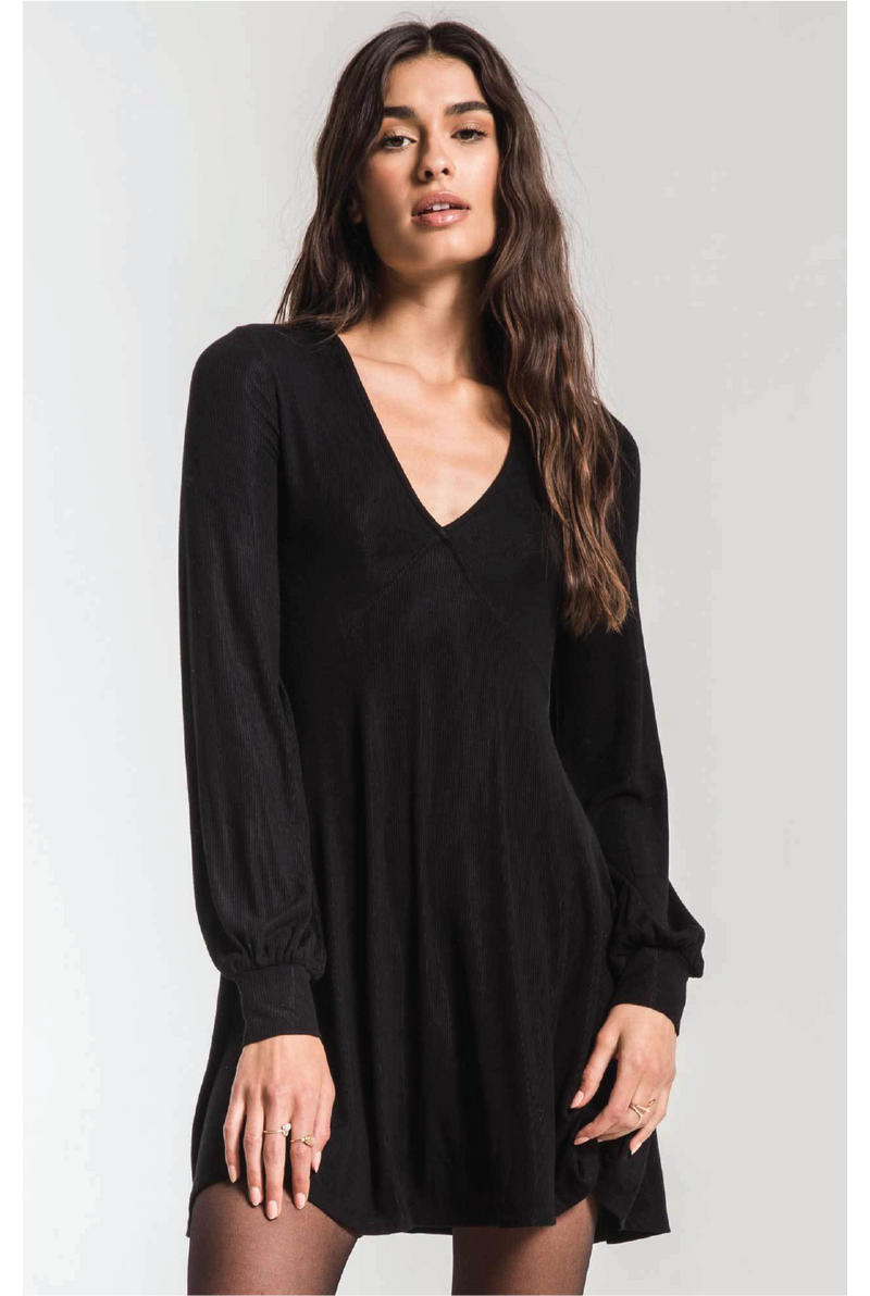 Z Supply - The Micro Rib Dress - Black - Tucker Brown