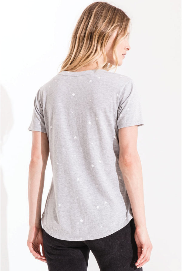Z Supply - Star Print V-Neck Tee - Grey - Tucker Brown