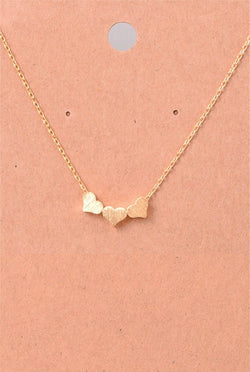Dainty Three Heart Necklace - Tucker Brown