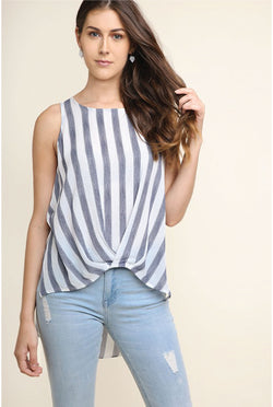 Sullivan Stripe Sleeveless Top — Navy - Tucker Brown