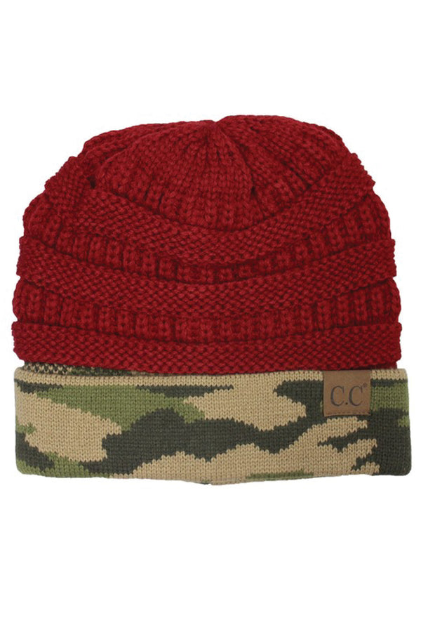 Camo + Knit Beanie - Red - Tucker Brown