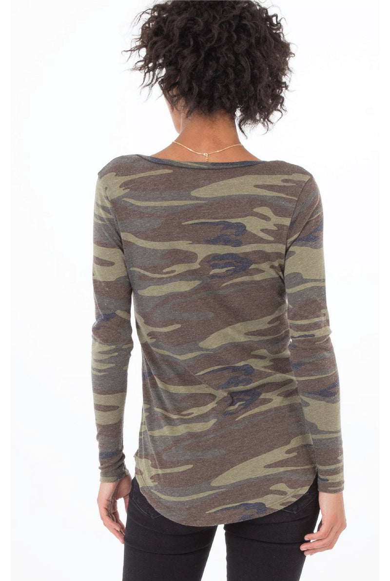 Z Supply - Camo Long Sleeve Tee - Olive - Tucker Brown