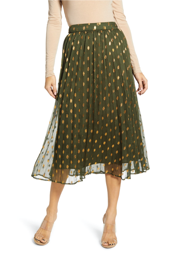Deck The Halls Pleated Skirt -Green
