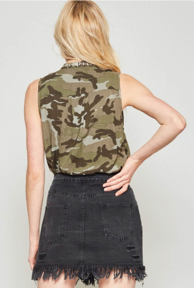 Goodall Embroidered Tank - Olive - Tucker Brown