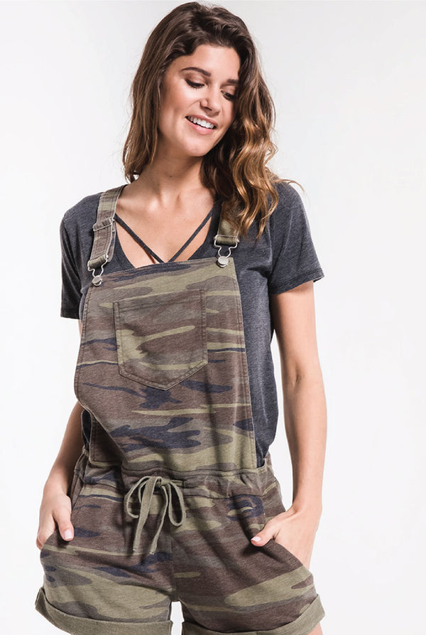 The Camo Short Overalls - Camo Green - Tucker Brown