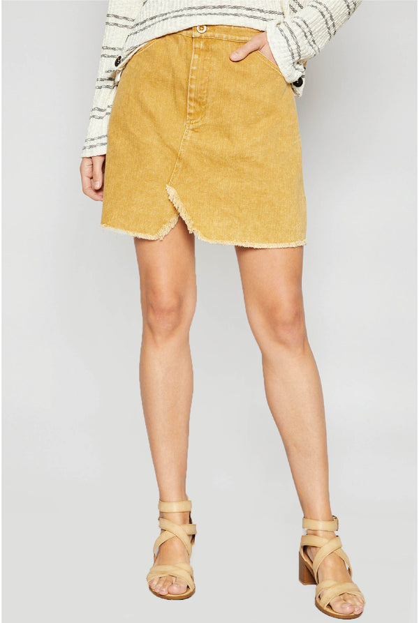 Lea Washed Twill Mini Skirt - Marigold - Tucker Brown
