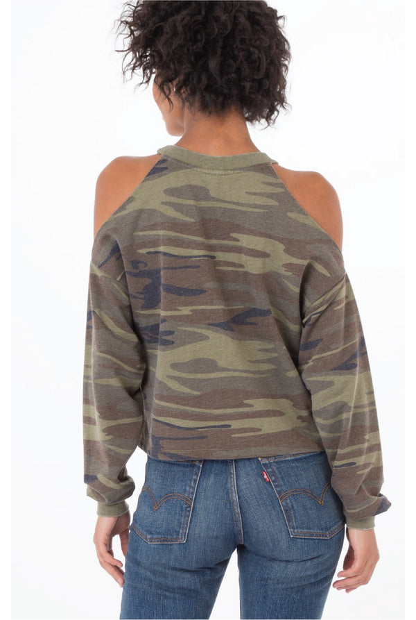 Z Supply - The Camo Cropped Cold Shoulder Pullover - Camo Green - Tucker Brown