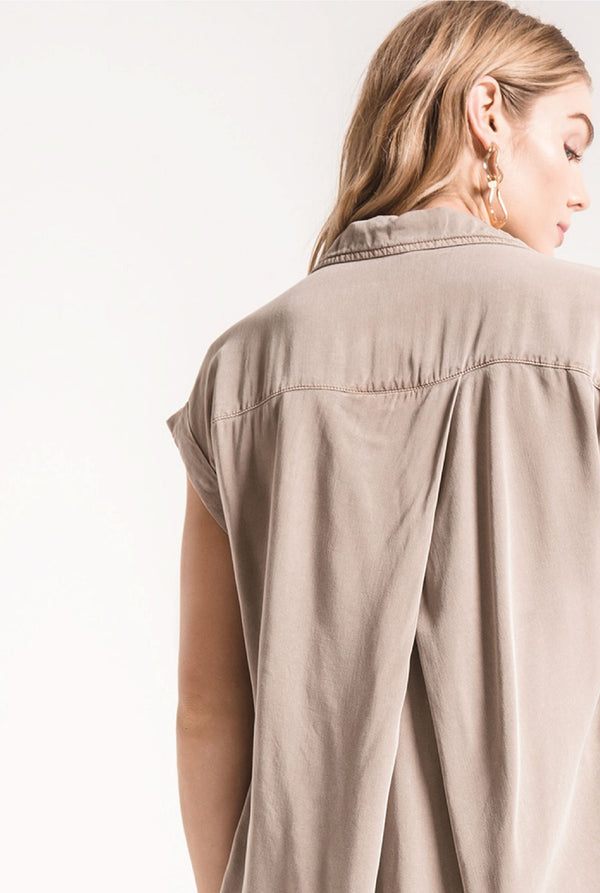 Nico Button Up Top - Taupe - Tucker Brown