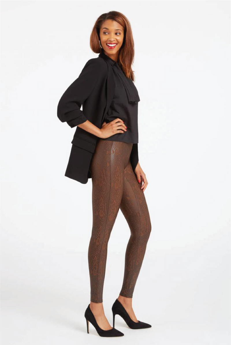 Faux Leather Snakeskin Leggings - Brown - Tucker Brown