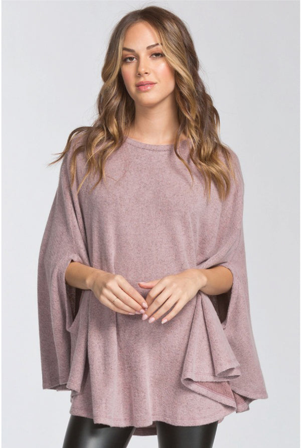Circle Poncho Top - Mauve - Tucker Brown