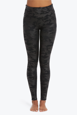 Faux Leather Camo Leggings - Matte Black - Tucker Brown