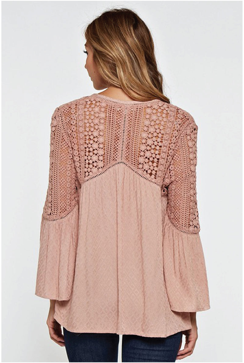 Lucia Button Up Lace Inset Top
