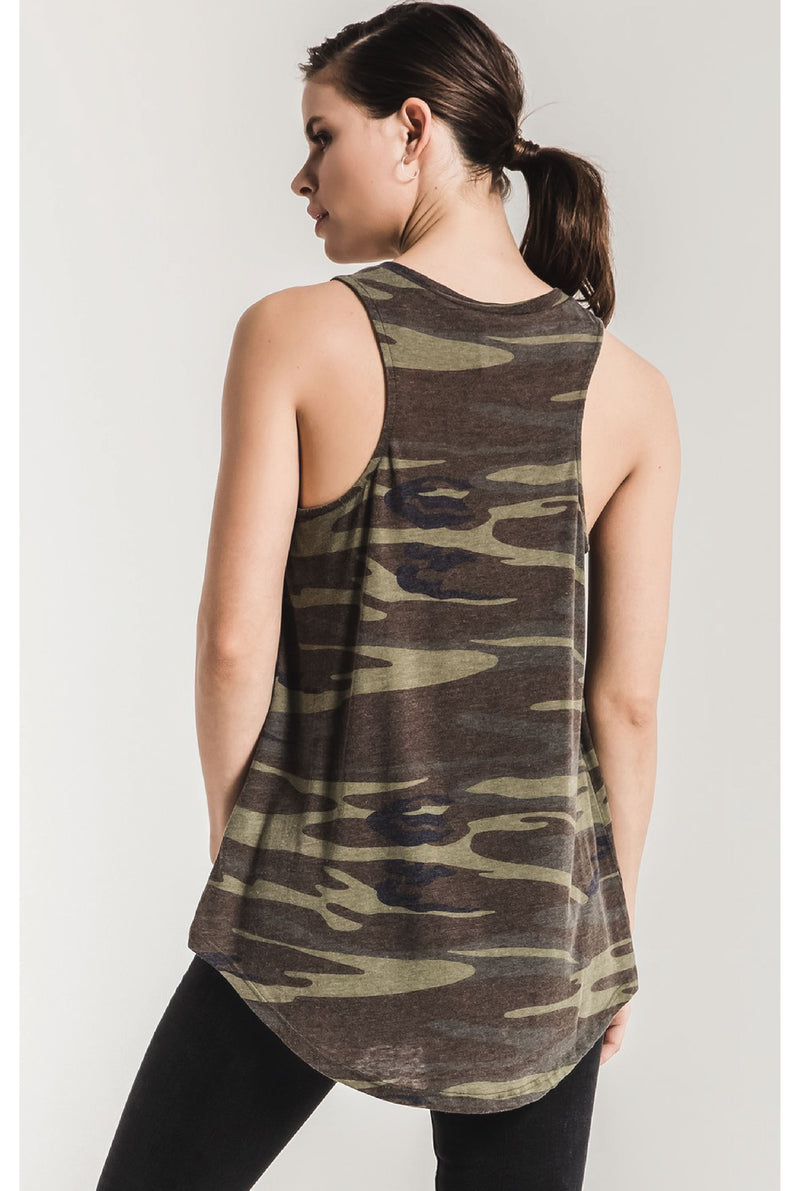 The Camo Pocket Racer Tank - Camo Green - Tucker Brown