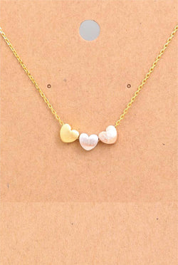 Dainty Three Chunky Hearts Necklace - Tucker Brown