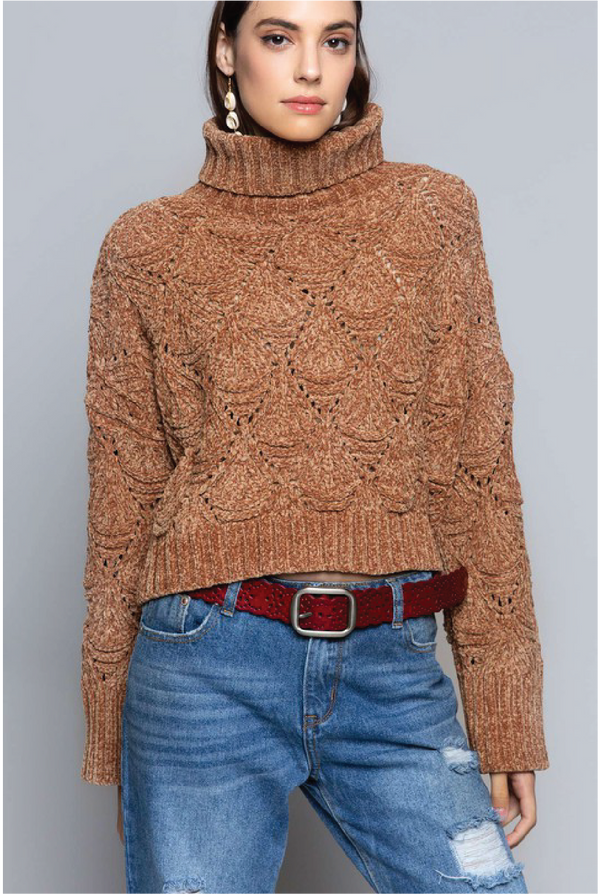 Up From Here Turtleneck Sweater - Camel - Tucker Brown