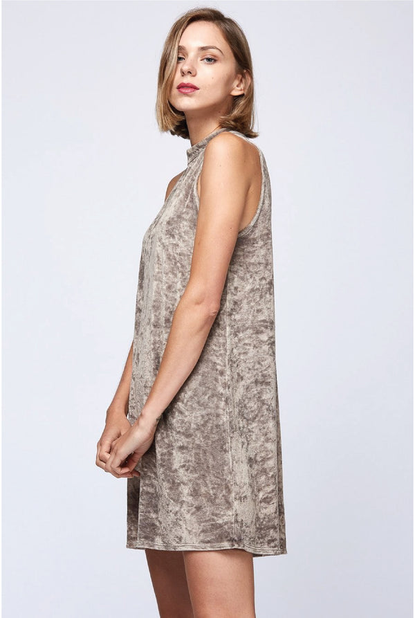 Tammi Velour Dress - Beige - Tucker Brown