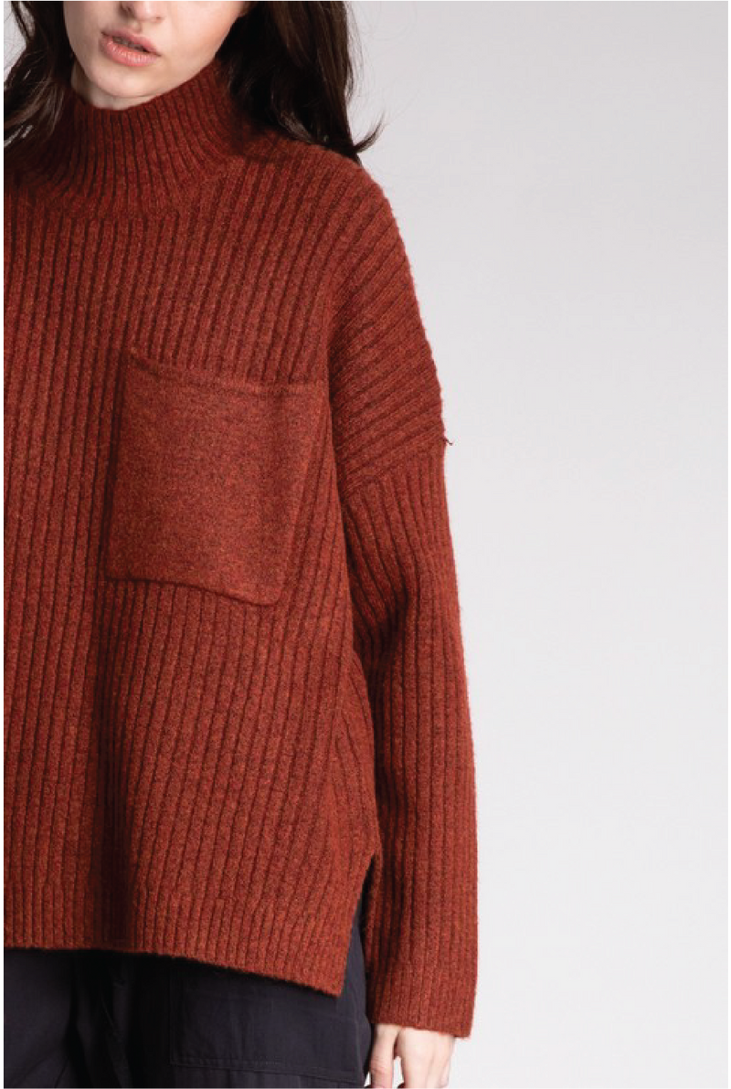 Lincoln High Neck Sweater - Rust - Tucker Brown