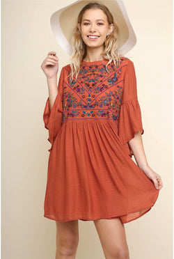 Magdalena Embroidered Dress - Clay - Tucker Brown