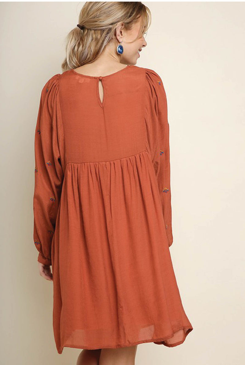 Charlotte Embroidered Dress - Brick - Tucker Brown