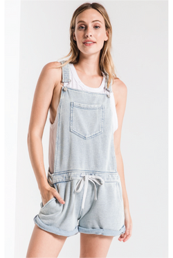 Z Supply - Knit Denim Shortalls - Light Denim - Tucker Brown