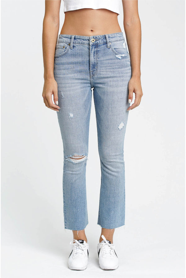 Illusionist High Rise Crop Jean - Light Denim - Tucker Brown