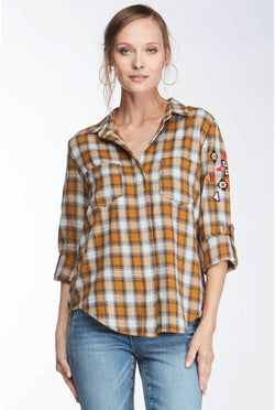 Riley Embroidered Mustard Plaid - Tucker Brown