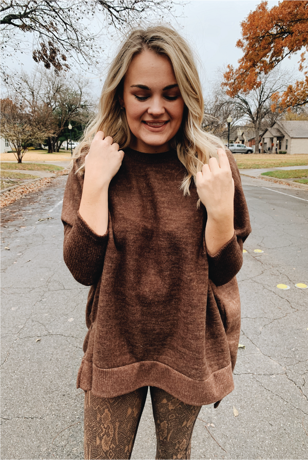 Cuddle Up Sweater - Brown