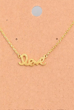 Dainty Love Script Necklace - Tucker Brown
