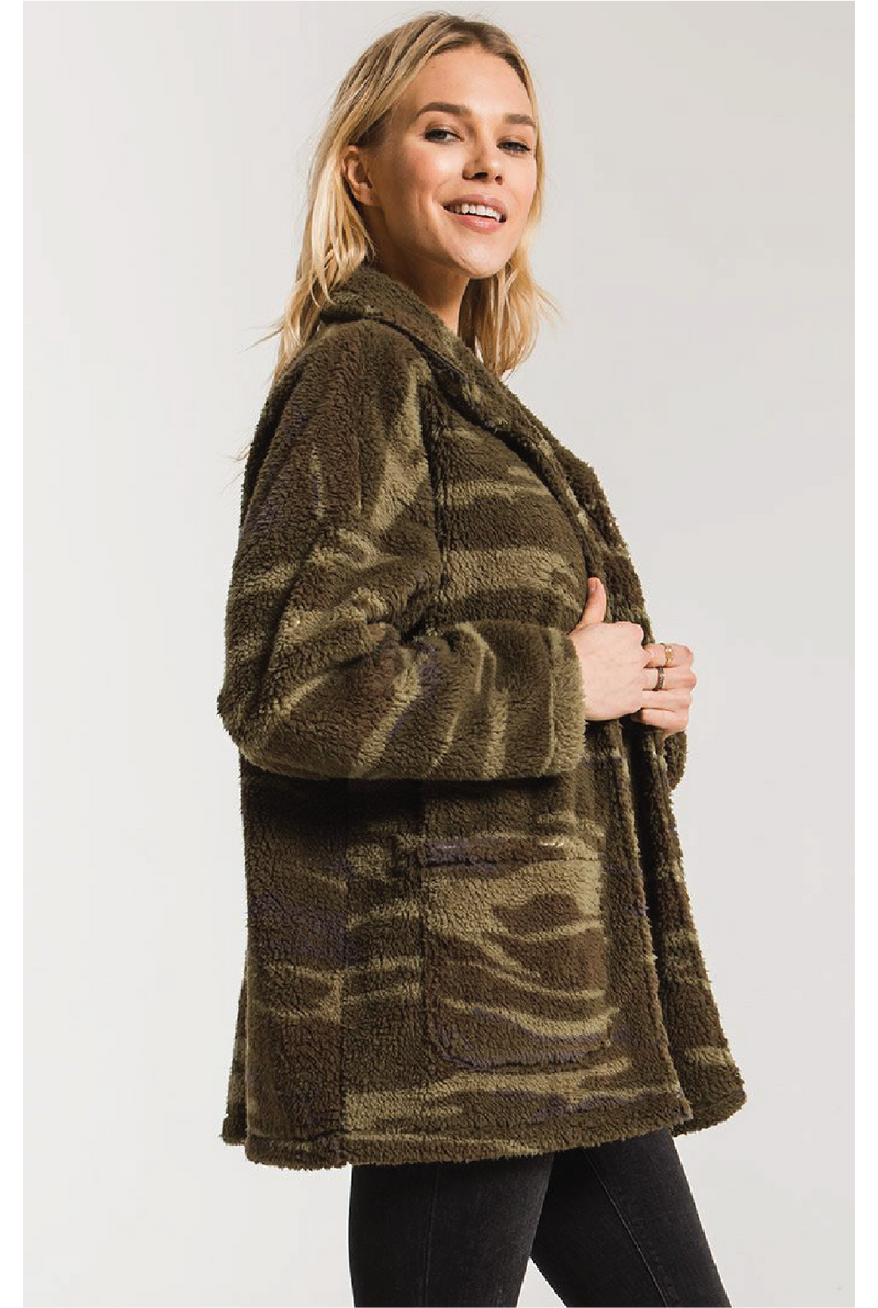 Camo Sherpa Teddy Bear Coat - Olive - Tucker Brown