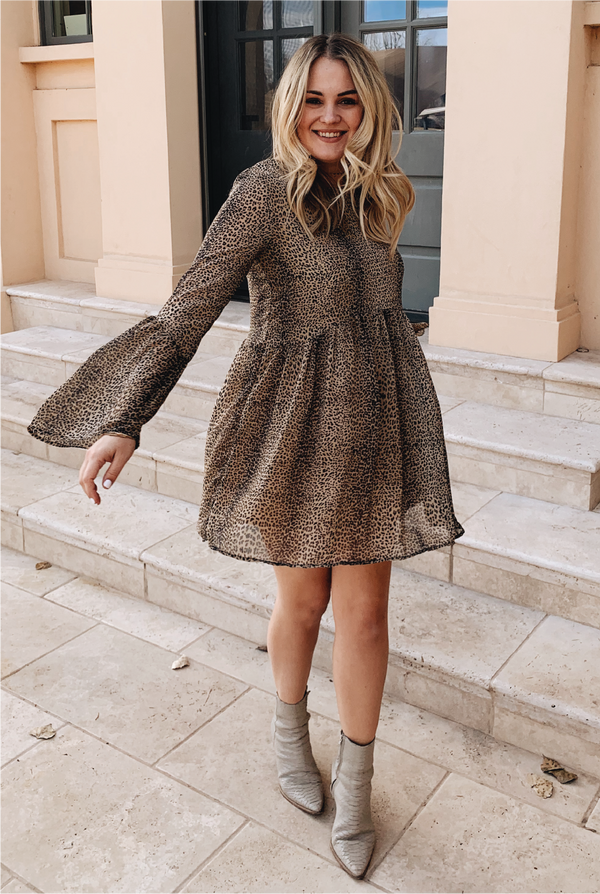 Leopard Latte Babydoll Dress - Mocha