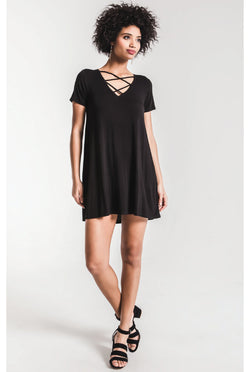 Z Supply — The Cross Front Dress — Black - Tucker Brown