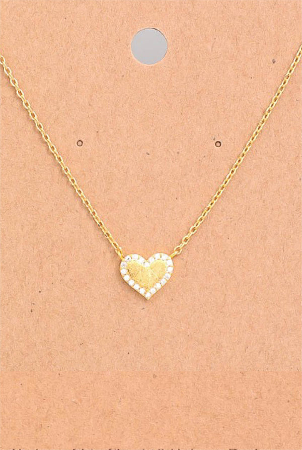 Dainty Jeweled Heart Necklace
