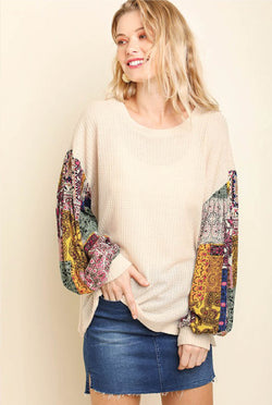 Jenci Boho Sleeve Top - Tucker Brown