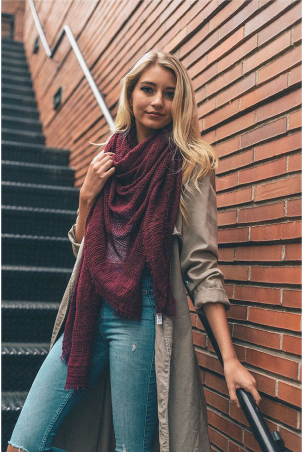 Shredded Open Weave Blanket Scarf - Burgundy - Tucker Brown