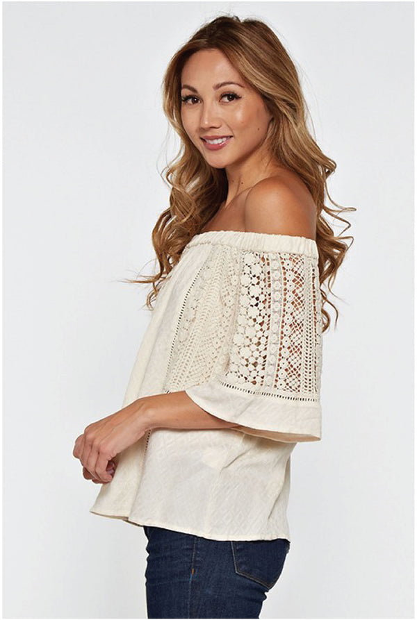 Lucy Off Shoulder Lace Inset Top - White - Tucker Brown